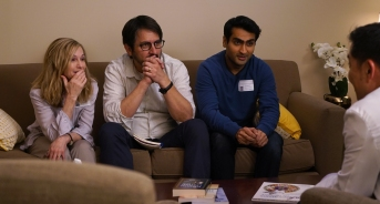 "Holly Hunter as ""Beth,"" Ray Romano as ""Terry"" and Kumail Nanjiani as ""Kumail"" in THE BIG SICK. Photo by Nicole Rivelli."