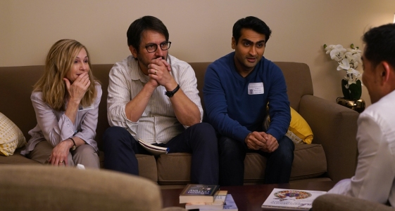 """Holly Hunter as """"Beth,"""" Ray Romano as """"Terry"""" and Kumail Nanjiani as """"Kumail"""" in THE BIG SICK. Photo by Nicole Rivelli."""